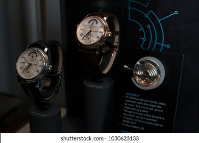 New York, NY - February 21, 2018: Watches on display during Swiss Watch Brand Frederique Constant launches 3.0 Watch Generation Carpenters Gallery