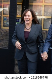 New York, NY - February 21, 2019: US Senator Kamala Harris attends lunch with reverend Al Sharpton at Sylvia's Restaurant