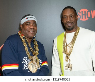 New York, NY - February 21, 2019: Tracy Morgan and Sharkey attend Showtime debut of Late-Night Series DESUS & MERO at the Clocktower New York Edition