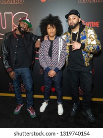 New York, NY - February 21, 2019: Desus Nice, Victor Lopez and The Kid Mero attend Showtime debut of Late-Night Series DESUS & MERO at the Clocktower New York Edition