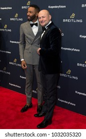 New York, NY - February 22, 2018: Ryan Clark, George Kern attend Breitling #LEGENDARYFUTURE Roadshow 2018 at Duggal Greenhouse Navy Yard