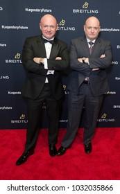 New York, NY - February 22, 2018: Scott Kelly and Mark Kelly attend Breitling #LEGENDARYFUTURE Roadshow 2018 at Duggal Greenhouse Navy Yard