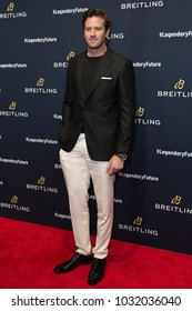 New York, NY - February 22, 2018: Armie Hammer attends Breitling #LEGENDARYFUTURE  Roadshow 2018 at Duggal Greenhouse Navy Yard