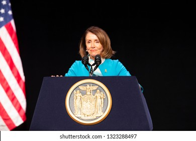 New York, NY - February 25, 2019: Speaker of the House Nancy Pelosi speaks during Red Flag Gun Protection Bill signing at John Jay College of Criminal Justice Gerald Lynch Theater