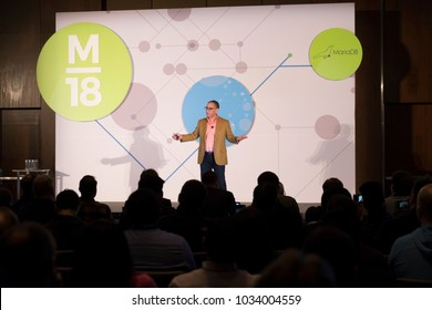New York, NY - February 26, 2018: Michael Howard CEO MariaDB speaks on stage at 2nd annual MariaDB conference at Conrad hotel