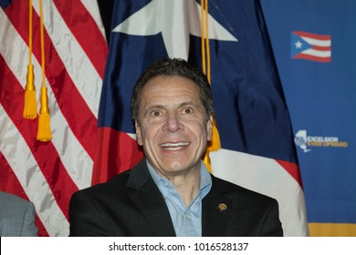 New York, NY - February 3, 2018: Governor Andrew Cuomo attends at New York stands with Puerto Rico rally at Casita Maria Center for Arts and Education in the Bronx