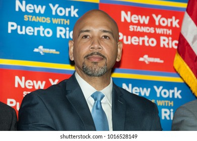 New York, NY - February 3, 2018: Bronx Borough President Ruben Diaz Jr attends at New York stands with Puerto Rico rally at Casita Maria Center for Arts and Education in the Bronx