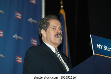 New York, NY - February 3, 2018: Congressman Jose Serrano speaks at New York stands with Puerto Rico rally at Casita Maria Center for Arts and Education in the Bronx