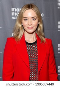 New York, NY - February 5, 2019: Actress Emily Blunt wearing suit by Elie Saab attends To Dust special screening at Marlene Meyerson JCC Manhattan
