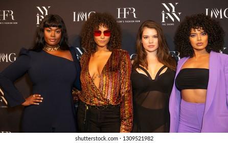New York, NY - February 6, 2019: Precious Lee, Marquita Pring, Tara Lynn, Saffi Karina attend IMG and Harlem Fashion Row Host Next Of Kin: An Evening Honoring Ruth Carter at Spring Studios