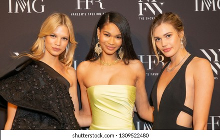 New York, NY - February 6, 2019: Models Nadine Leopold, Chanel Iman, Noel Berry attend IMG and Harlem Fashion Row Host Next Of Kin: An Evening Honoring Ruth Carter at Spring Studios