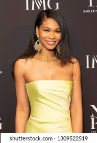 New York, NY - February 6, 2019: Model Chanel Iman wearing dress by Rasario attends IMG and Harlem Fashion Row Host Next Of Kin: An Evening Honoring Ruth Carter at Spring Studios