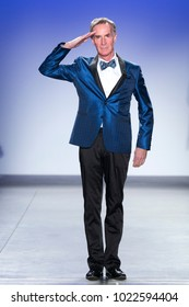 New York, NY - February 7, 2018: Bill Nye wearing jacket by Nick Graham walks runway for Blue Jacket Fashion Show to benefit Prostate Cancer Foundation at Pier 59