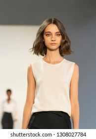 New York, NY - February 7, 2019: Model walks runwayfor  Noon By Noor collection by Noor Al Khalifa and Haya Al Khalifa during New York Fall/Winter 2019 fashion week at Spring Studios