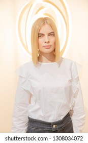 New York, NY - February 7, 2019: Model shows off clothing for BLDWN women's Fall/Winter 2019 presentation at Roll & Hill gallery