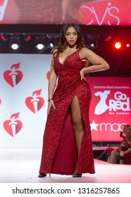 New York, NY - February 7, 2019: Jordyn Woods wearing dress by Population walks runway for Red Dress Collection 2019 Go Red for Women at Hammerstein ballroom