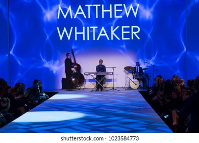 New York, NY - February 8, 2018: Matthew Whitaker trio perfoms on runway for Malan Breton Autumn/Winter 2018 colelction at New York Fashion Week at Cipriani 42nd street