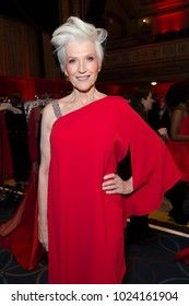 New York, NY - February 8, 2018: Maye Musk prepares backstage for Red Dress 2018 Collection Fashion Show at Hammerstein Ballroom