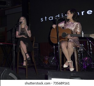 New York, NY - February 8, 2015: Megan Mace, Elizabeth Mace perform at the GREY GOOSE and Stadiumred New York VIP Grammy Awards Party at Liberty Theater