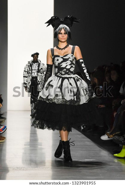 New York, NY - February 8, 2019: Model walks runway for Jeremy Scott Fall/Winter 2019 collection during New York Fashion Week at Spring Studios
