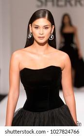 New York, NY - February 9, 2018: Miss Universe 2015 Pia Wurtzbach walks runway for Sherri Hill Autumn/Winter 2018 runway at New York Fashion Week at Gotham Hall