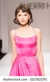 New York, NY - February 9, 2018: Model walks runway for Sherri Hill Autumn/Winter 2018 runway at New York Fashion Week at Gotham Hall