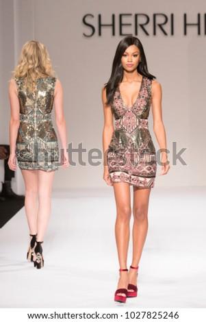 75f25550def3 New York, NY - February 9, 2018: Model walks runway for Sherri Hill Autumn/Winter  2018 runway at New York Fashion Week at Gotham Hall - Image