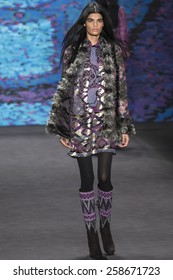 NEW YORK, NY - FEBRURY 18, 2015: Bhumika Arora walks the runway at Anna Sui Fall 2015 Collection at The Theater at Lincoln Center
