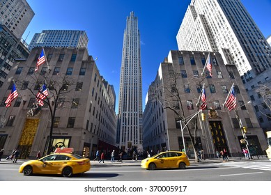 New York, NY - Jan 19, 2016: view of Rockefeller center from 5th avenue. The Rockefeller Center is a National Historic Landmark located in New York City.