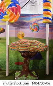 NEW YORK, NY - JAN 6: Candytopia in Manhattan, New York, as seen on Jan 6, 2019. It was a temporary exhibit where colossal candyfloss constructions meld with a tantalizing taffy twistedness.