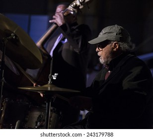 New York, NY - January 08, 2015: Jimmy Cobb plays as part of Benny Golson quartet at Jazz Legends for Disability Pride concert at Quaker Friends Meeting House in Manhattan