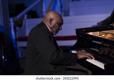 New York, NY - January 08, 2015: Harold Mabern plays as part of George Coleman quartet at Jazz Legends for Disability Pride concert at Quaker Friends Meeting House in Manhattan