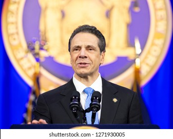 New York, NY - January 1, 2019: Governor Andrew Cuomo addresses during inauguration for third term at Ellis Island