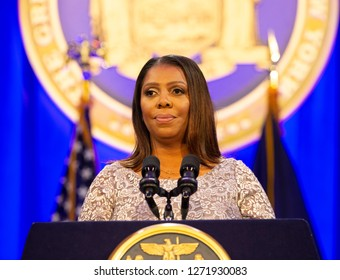 New York, NY - January 1, 2019: State Attorney General Letitia James addresses during Governor Andrew Cuomo inauguration for third term at Ellis Island
