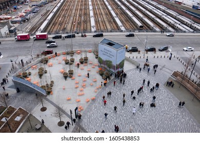 New York, NY - January 1 2020: View of the Public Square and Gardens at Hudson Yards and the Western Rail Yard