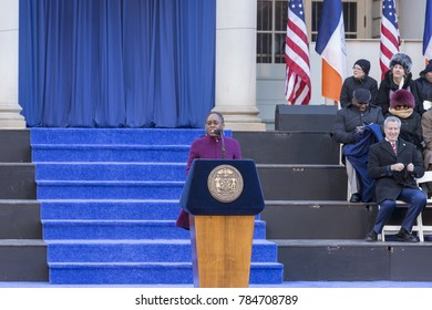 New York, NY - January 1, 2018: First Lady Chirlane McCray speaks during mayor inauguration for 2nd term in frigid weather in front of City Hall