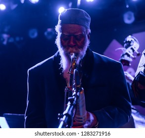 New York, NY - January 10, 2019: Pharoah Sanders on saxophone performs with Gary Bartz 50th Anniversary Of Another Earth during Winter JazzFest at Le Poisson Rouge