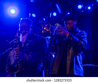 New York, NY - January 10, 2019: Pharoah Sanders on sax & Charles Tolliver on trumpet performs with Gary Bartz 50th Anniversary Of Another Earth during Winter JazzFest at Le Poisson Rouge
