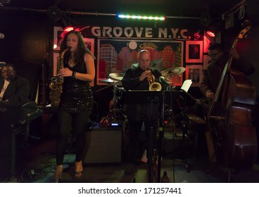 NEW YORK, NY - JANUARY 10, 2014: Sharel Cassity quintet performs on stage as part of New York City Winter Jazz Festival at Groove Revive Music Stage Bar