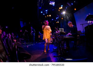 New York, NY - January 11, 2018: Band Knower with singer Genevieve Artadi performs during 2018 New York Winter Jazz Festival at Le Poisson Rouge