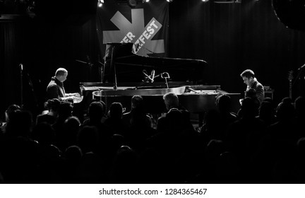 New York, NY - January 12, 2019: Vijay Iyer and Craig Taborn perform during Winter JazzFest on ECM Records stage at Le Poisson Rouge