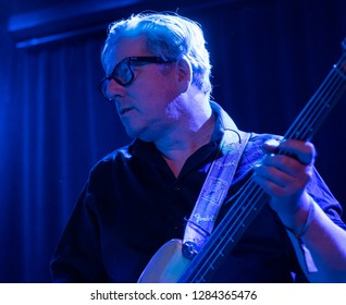 New York, NY - January 12, 2019: Audun Erlien on bass performs with Mathias Eick and band during Winter JazzFest on ECM Records stage at Le Poisson Rouge