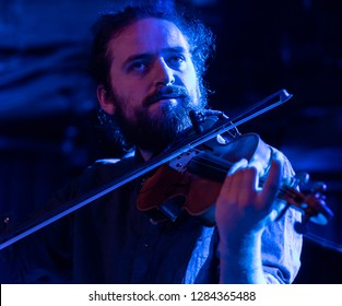 New York, NY - January 12, 2019: Hakon Aase on violin performs with Mathias Eick and band during Winter JazzFest on ECM Records stage at Le Poisson Rouge