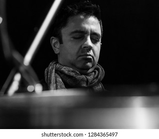 New York, NY - January 12, 2019: Vijay Iyer performs duo with Craig Taborn during Winter JazzFest on ECM Records stage at Le Poisson Rouge