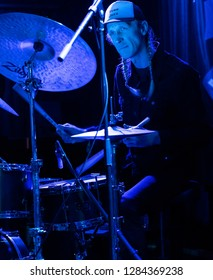 New York, NY - January 12, 2019: Olaf Olsen on drums performs with Mathias Eick and band during Winter JazzFest on ECM Records stage at Le Poisson Rouge