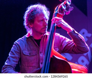 New York, NY - January 12, 2019: Ben Street on bass performs with Billy Hart Quartet during Winter JazzFest on ECM Records stage at Le Poisson Rouge