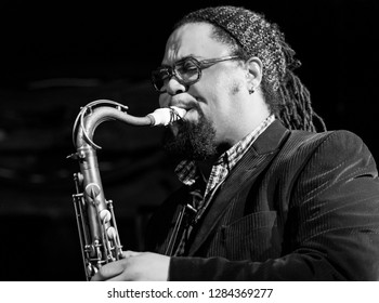 New York, NY - January 12, 2019: Dayna Stephens on saxophone performs with Billy Hart Quartet during Winter JazzFest on ECM Records stage at Le Poisson Rouge