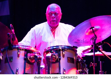 New York, NY - January 12, 2019: Billy Hart Quartet performs during Winter JazzFest on ECM Records stage at Le Poisson Rouge