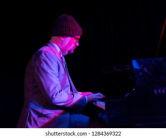 New York, NY - January 12, 2019: Ethan Iverson on piano performs with Billy Hart Quartet during Winter JazzFest on ECM Records stage at Le Poisson Rouge