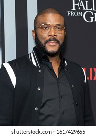 New York, NY - January 13, 2020: Tyler Perry wearing dress by Givenchy attends premiere of Netflix A Fall From Grace at Metrograph